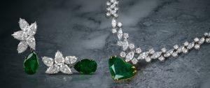 Vintage Riviera Diamond Emerald Heart Gold Necklace