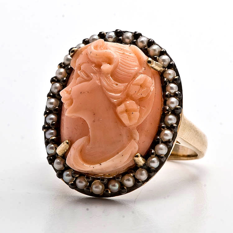 Cameo Pearl Ring