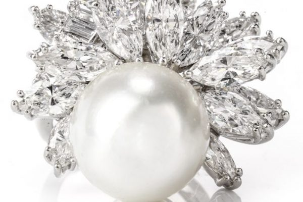 Exquisite Vintage Diamond and Pearl Floral Platinum Cocktail Ring