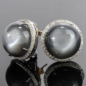 Vinatge Moonstone Cabochon Diamond Stud Earrings