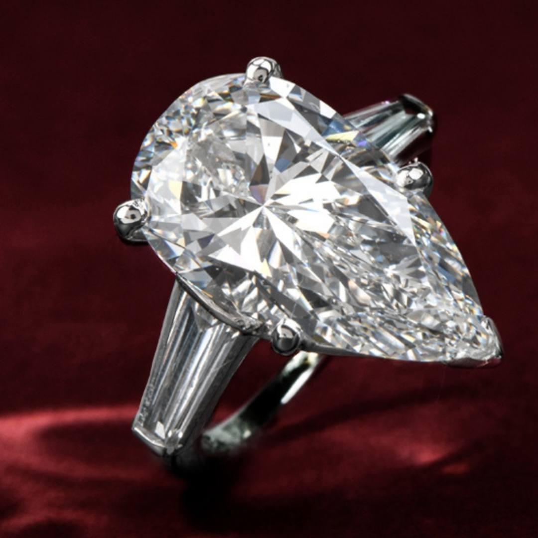 Classic GIA 6.48ct E-VVS2 Pear Diamond Platinum 3 Stone Engagement Ring