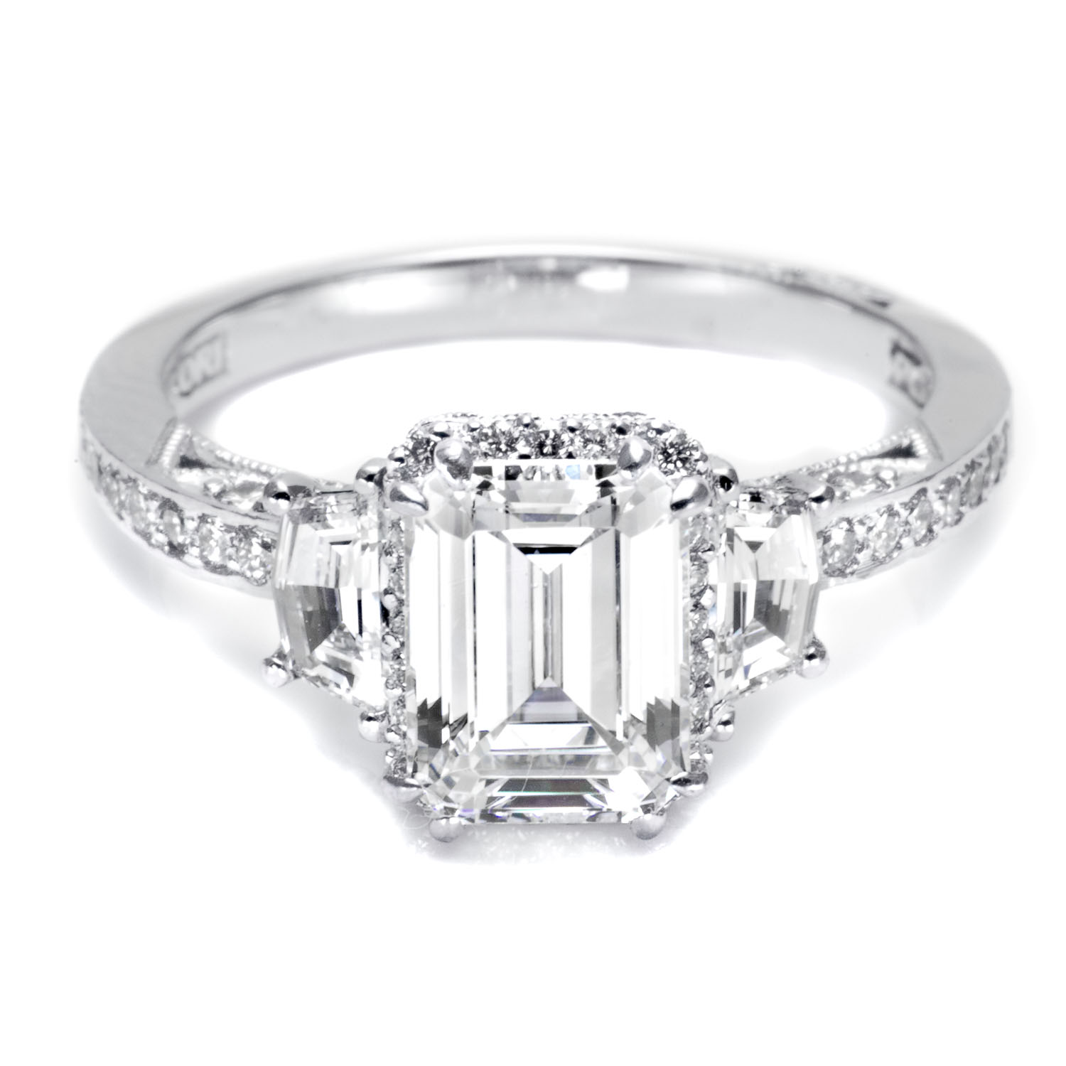 ring h shoulders cut engagement halo with on rings invisible emerald diamonds