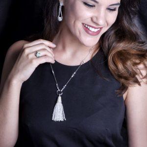 Tiffany & Co. Tassel Rock Crystal Diamond Platinum Necklace