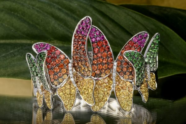 Designer Diamond Multicolor Sapphire Tsavorite 18K Gold Butterfly Rainbow Bangle Bracelet