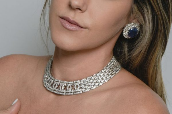 "CARTIER Double ""C"" 56.20 ct Diamond Gold Choker Necklace"