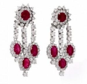 Estate 31.00ct Ruby Diamond 18K Gold Chandelier Earrings