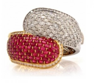 Exceptional 69.17cts Diamond Ruby Bi-Tone 18K Bangle Cuff Bracelet
