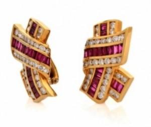 Krypell 12.11ct Ruby Diamond 18K Yellow Gold Clip-on Designer Earrings
