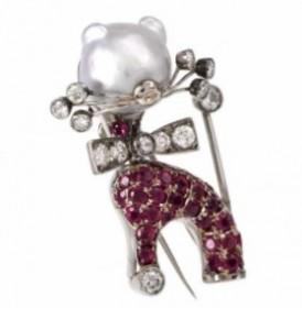 Nardi Vintage Diamond Ruby Cat Lapel Brooch Signed