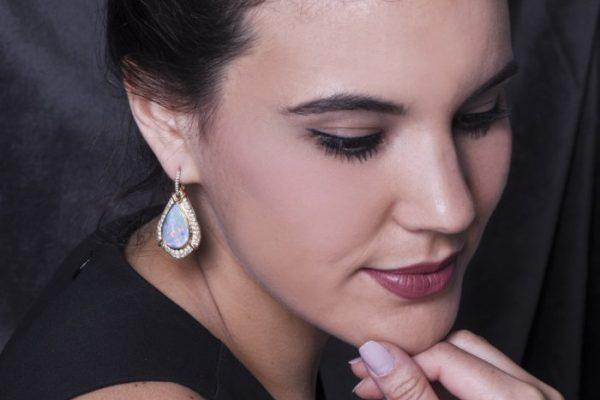 Vintage Opal Diamond Pendant Gold Earrings
