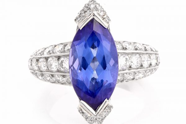 Marquise Tanzanite Diamond Platinum French Ring
