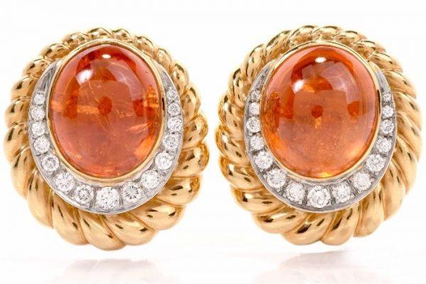 Garnet 18K Gold Dimaond Clipback Back Earrings
