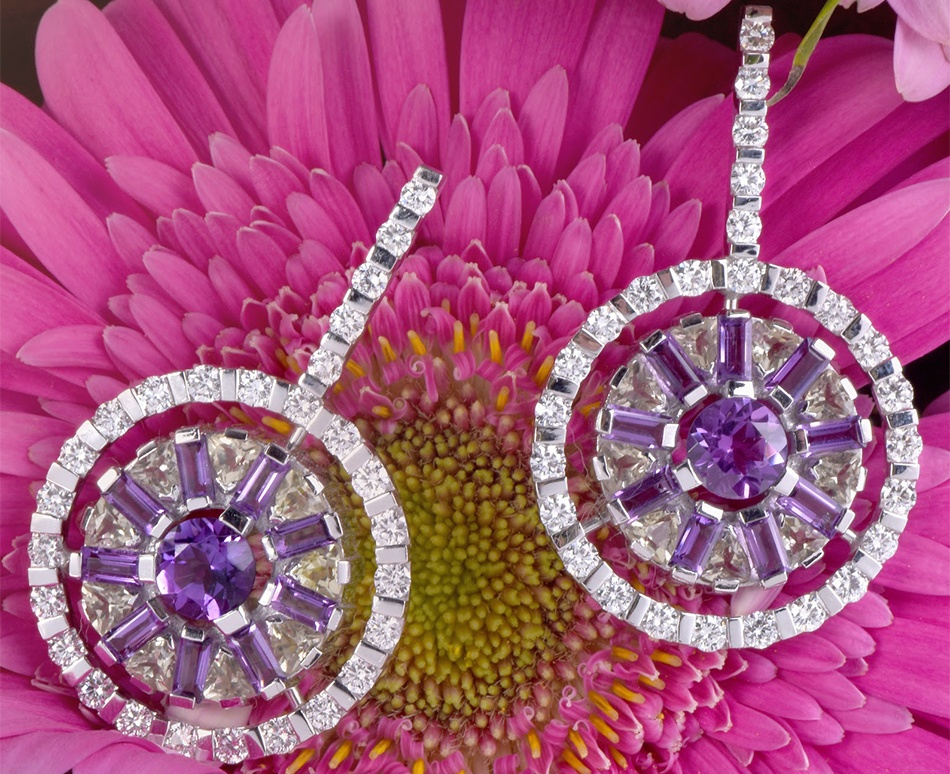 GARAVELLI 6.01cts Diamond Amethyst Gold Circular Drop Earrings
