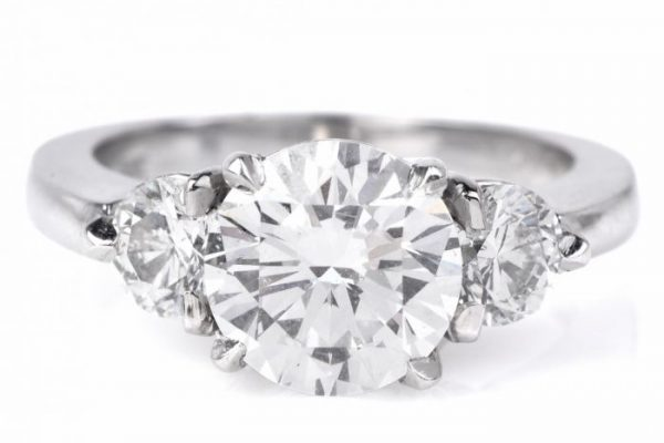 Three Stone Diamond Engagement Platinum Ring