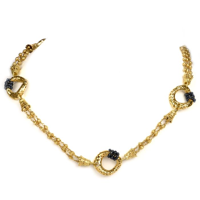 Estate Etruscan Sapphire Bead Yellow Gold Necklace