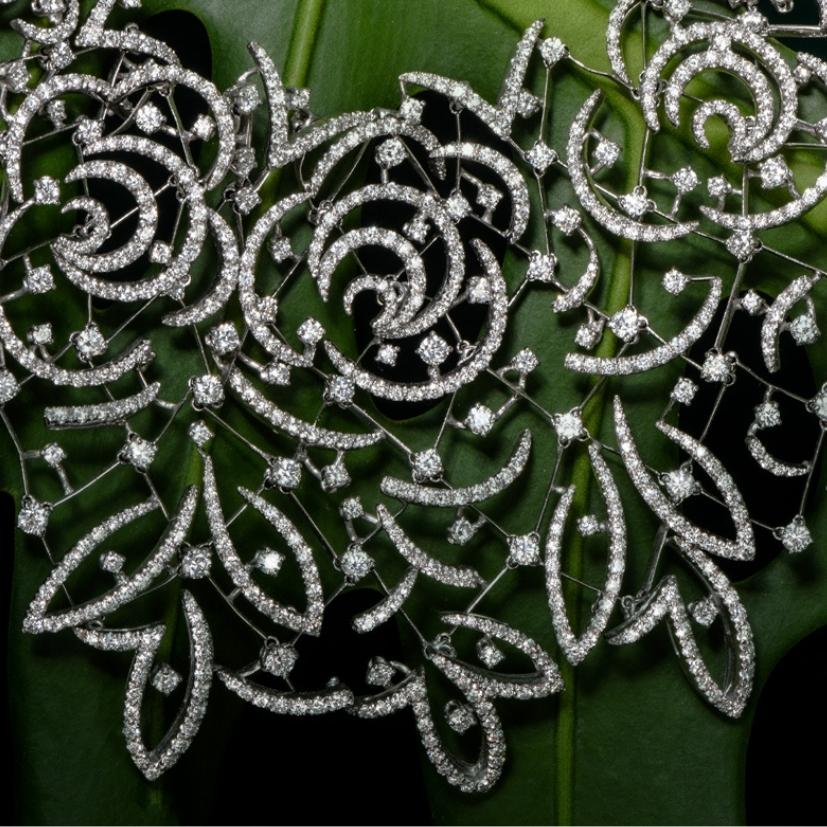 Stefan Hafner 27.70cts Diamond Lace 18k White Gold Necklace