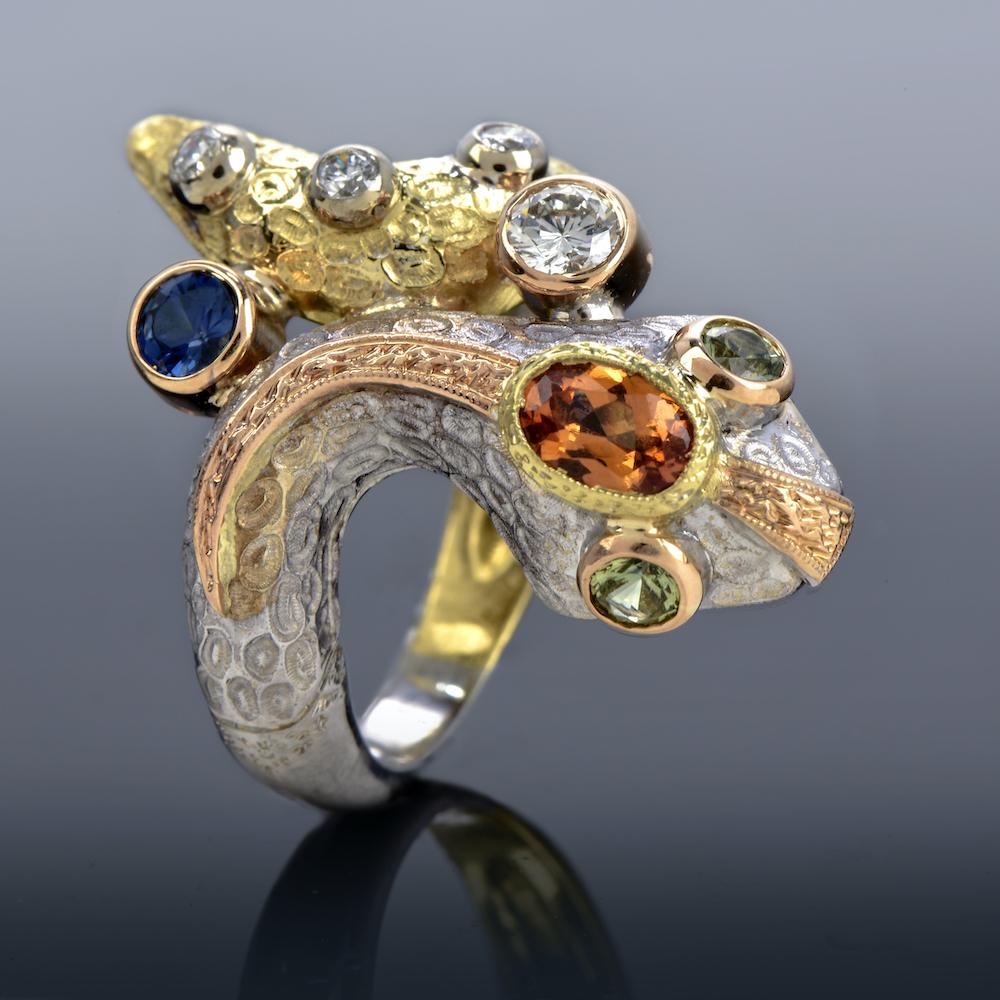 Gazzaniga Diamond Sapphire 18K Gold Snake Bypass Ring