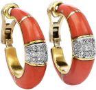Vintage Diamond Coral 18K Gold Elegant Clip On Earrings