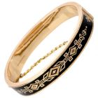 Antique Victorian Black Enamel 14K  Gold Bangle Bracelet