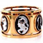Vintage Retro Cameo Wide Gold Large Bangle Bracelet