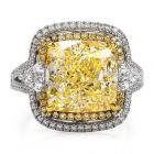 GIA 10.65 Carats Yellow Diamond Cushion Cut 18K Gold Engagement Ring