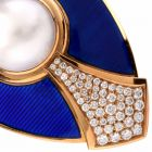 De Vroomen Diamond Blue Enamel Brooch Pin Signed L.D.V