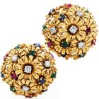 1960s Diamond Ruby Sapphire Emerald 18K Gold Floral Clip On Earrings
