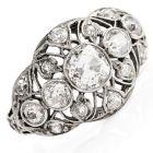 Antique Deco 1.50cts Old European Cut Diamond Platinum Engagement Ring