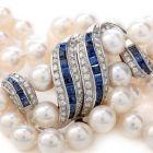 Deco Diamond 5.20ct Sapphire Platinum 14K Gold Pearl Necklace