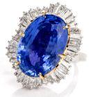 Estate No Heat GIA 38.89 Carat Sapphire Diamond Ballerina Platinum/18K Cocktail Engagement Ring