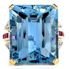 Vintage Retro Fine 36.41cts Aquamarine Diamond Ruby Cocktail Gold Ring