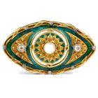 vintage Diamond Pearl Green Enamel 18K Gold Sunflower Pin Brooch