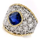 Buccellati Vintage Sapphire Diamond Gold Cocktail Ring