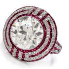 Vintage Art Deco 6.05ct Old European Cut Diamond Ruby Platinum Ring