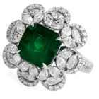 6.96 carat  Colombian Emerald Diamond 18K Gold Large Cocktail Ring
