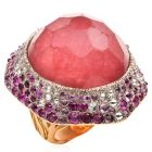 VASARI Designer Diamond Ruby Tourmaline 18K Gold Cocktail Ring