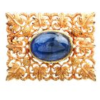 Buccellati No Heat Blue Sapphire 18K Gold Floral Square Brooch Pin