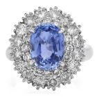 GIA Diamond Sapphire Platinum Cocktail Double Halo Ring