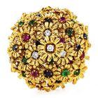 1980s Diamond Ruby Sapphire Emerald 18K Gold Floral Pin Brooch