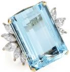 Vintage GIA 37.40cts  Aquamarine Diamond 14K Gold Cocktail Ring