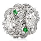 Vintage Boucheron Diamond Emerald Platinum Double Clip Lapel Brooch