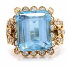 GIA Certified Blue Topaz Diamond Yellow Gold Retro Cocktail Ring