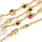 Judith Ripka Estate Tourmaline Pearl Diamond Gold Chain Necklace