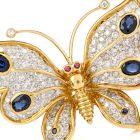 Designer Butterfly Diamond Sapphire 18K Gold Pin Brooch