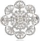 Vintage Old European Diamond Flower Openwork Platinum Pin Brooch