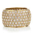 Estate Diamond 18K Yellow Gold Pave Eternity Wide Ring