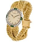 Vintage Corum Diamond Emerald 18K Braided Gold Ladies Watch