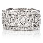 Estate Diamond High Set Wide Platinum Eternity Wedding Band Ring