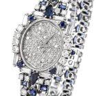 Estate Diamond Sapphire Pave Dial Platinum Watch