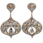 Estate Multi Color Diamond Silver 14K Gold Large Dangle Earrings